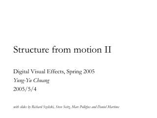 Structure from motion II