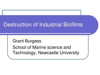 Destruction of Industrial Biofilms