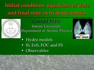 Initial conditons, equations of state and final state in hydrodynamics