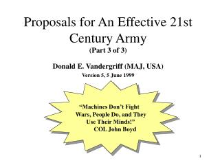 Proposals for An Effective 21st Century Army (Part 3 of 3)