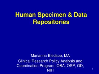 Human Specimen  Data Repositories
