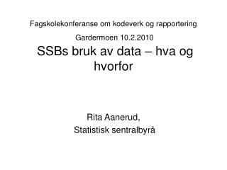 Rita Aanerud,  Statistisk sentralbyrå