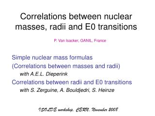 Correlations between nuclear masses, radii and E0 transitions