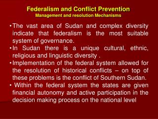 Federalism and Conflict Prevention  Management and resolution Mechanisms