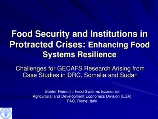 Food Security and Institutions in Protracted Crises:  Enhancing Food Systems Resilience