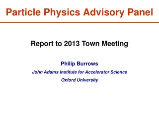 Particle Physics Advisory Panel