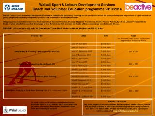Walsall Sport & Leisure Development Services Coach and Volunteer Education programme 2013/2014
