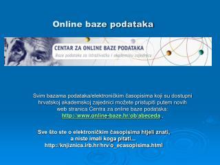 Online baze podataka