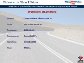 Proyecto: Conservación de Taludes Ruta A 16 Sector: Km. 39.50 al Km. 44.50
