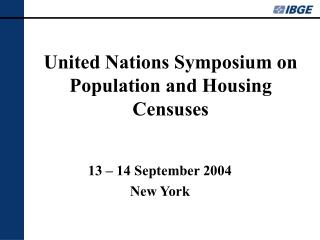 United Nations Symposium on Population and Housing Censuses