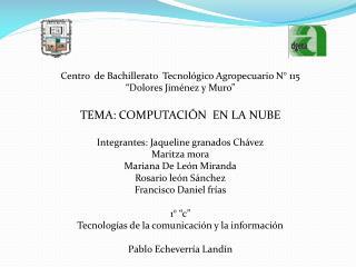 """Centro  de Bachillerato   T ecnológico  A gropecuario N° 115 """"Dolores Jiménez y Muro"""""""