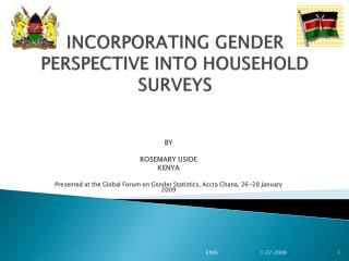 INCORPORATING GENDER PERSPECTIVE  INTO  HOUSEHOLD  SURVEYS
