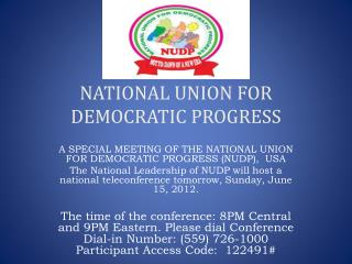 NATIONAL UNION FOR DEMOCRATIC PROGRESS