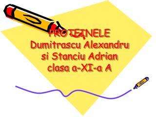 PROTEINELE Dumitrascu Alexandru si Stanciu  Adrian clasa  a-XI-a A