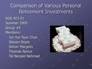 Comparison of Various Personal Retirement Investments