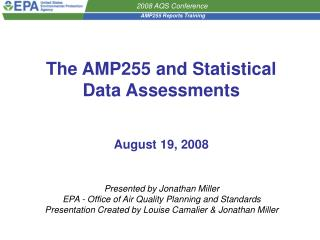 The AMP255 and Statistical Data Assessments August 19, 2008