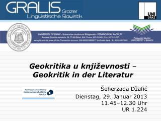 Geokritika u književnosti  –  Geokritik in der Literatur