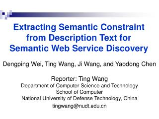 Extracting Semantic Constraint  from Description Text for  Semantic Web Service Discovery