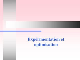Expérimentation et optimisation
