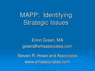 MAPP:  Identifying Strategic Issues