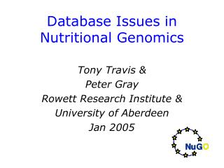 Database Issues in Nutritional Genomics