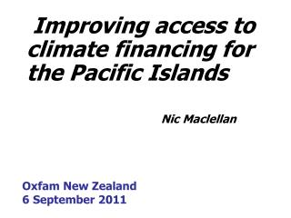 Oxfam New Zealand 6 September 2011