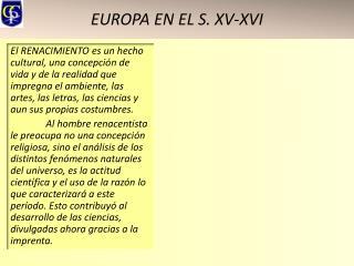 EUROPA EN EL S. XV-XVI