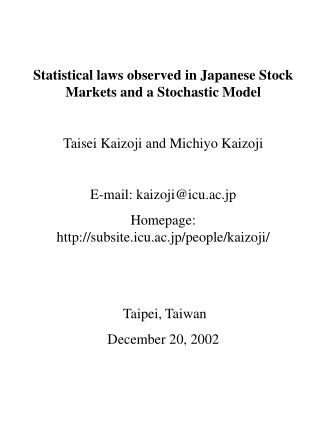 Statistical laws observed in Japanese Stock Markets and a Stochastic Model