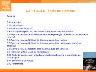 CAPÍTULO 6 - Teste de hipótese