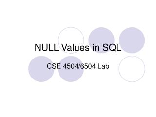 NULL Values in SQL