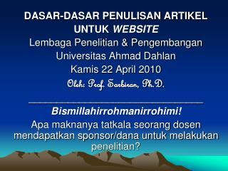 DASAR-DASAR PENULISAN ARTIKEL  UNTUK  WEBSITE Lembaga Penelitian & Pengembangan