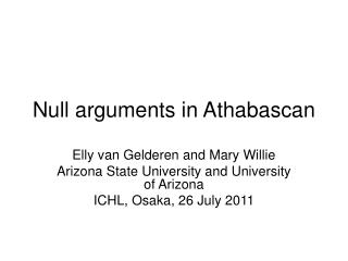Null arguments in Athabascan