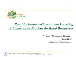 Rural Inclusion: e-Government Lowering Administrative Burdens for Rural Businesses