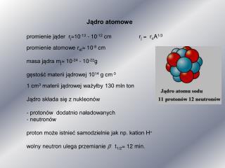 Jądro atomowe promienie jąder  r j  10 -13  - 10 -12  cmr j  =  r o A 1/3