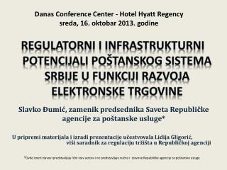 Slavko Đumić, zamenik predsednika Saveta Republičke agencije za poštanske usluge*