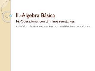 II.-Algebra Básica