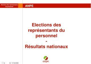 Elections des représentants du personnel - Résultats nationaux