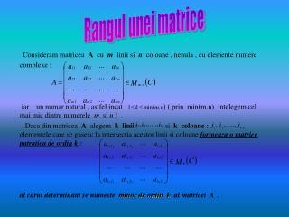 Rangul unei matrice