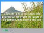 Effets de la mise en culture des prairies sur les cycles de l azote et du carbone, et la qualit  des sols