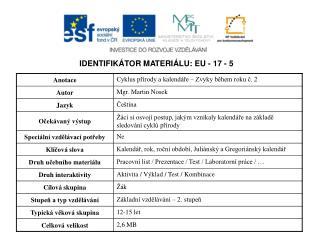 IDENTIFIKÁTOR MATERIÁLU: EU - 17 - 5