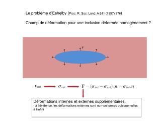 Le problème d'Eshelby ( Proc. R. Soc. Lond. A 241 (1957) 376 )