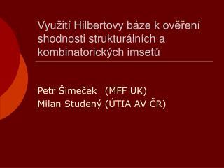 Využití Hilbertovy báze k ověření shodnosti strukturálních a kombinatorických imsetů