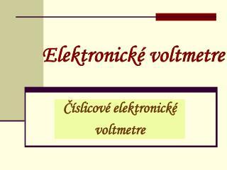 Elektronické voltmetre
