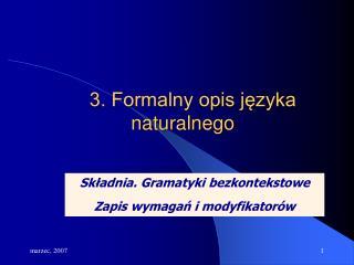3. Formalny opis języka naturalnego