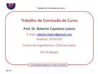 Trabalho de Conclusão de Curso Prof. Dr. Roberto Cayetano Lotero E-mail:  roberto.lotero@gmail