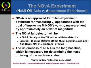 The NO n A Experiment ( N uMI  O ff-Axis  n e A ppearance Experiment)