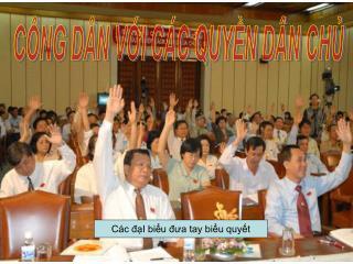 Các đạI biểu đưa tay biểu quyết