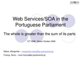 Web Services/SOA in the Portuguese Parliament