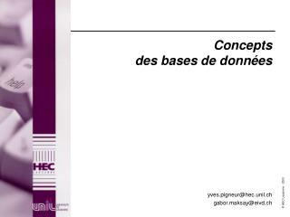 Concepts des bases de données