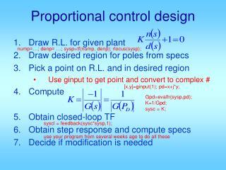 Proportional control design